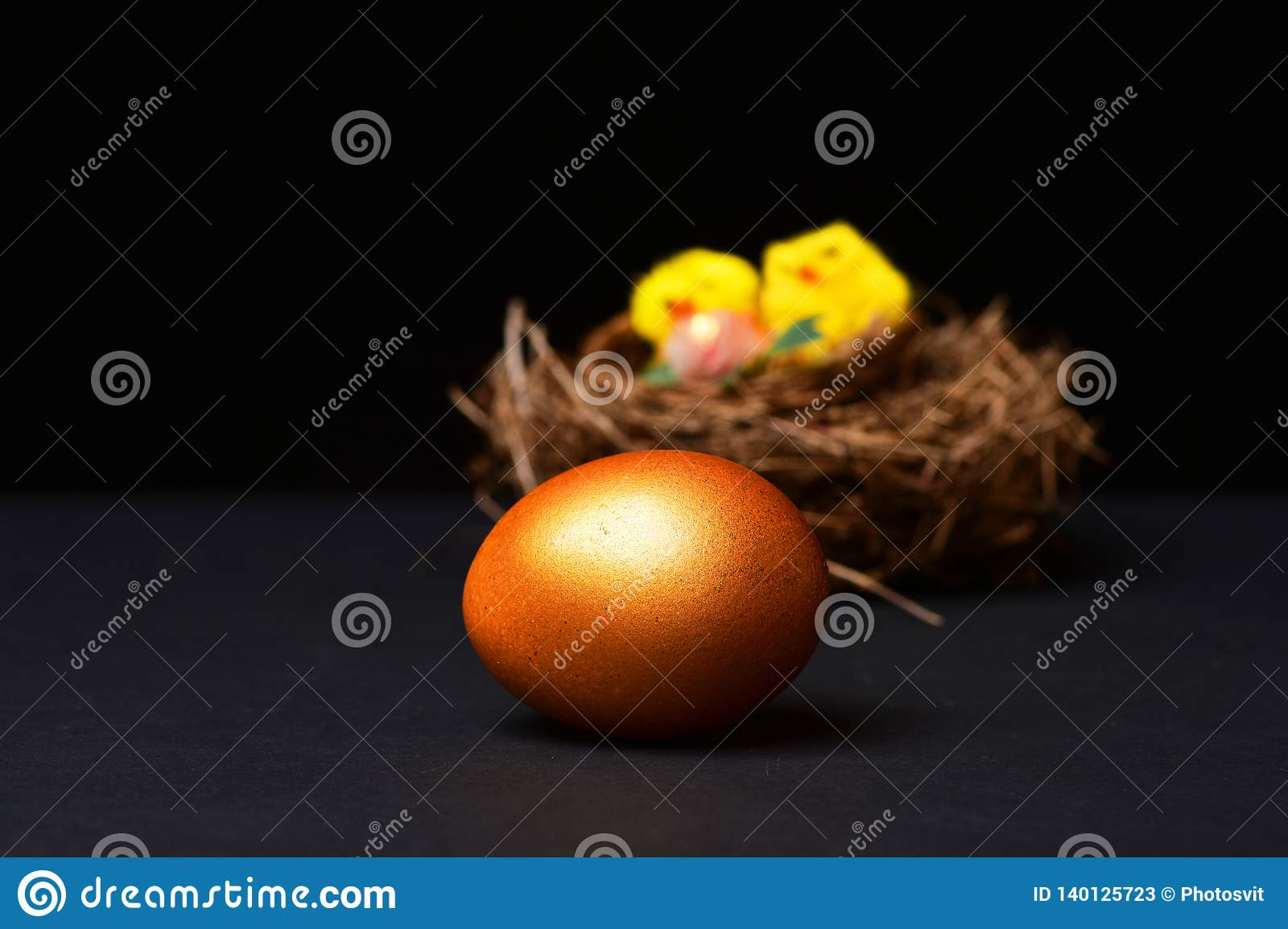 Traditional egg painted in golden color in selective focus with nest on black background. Happy Easter, farming and