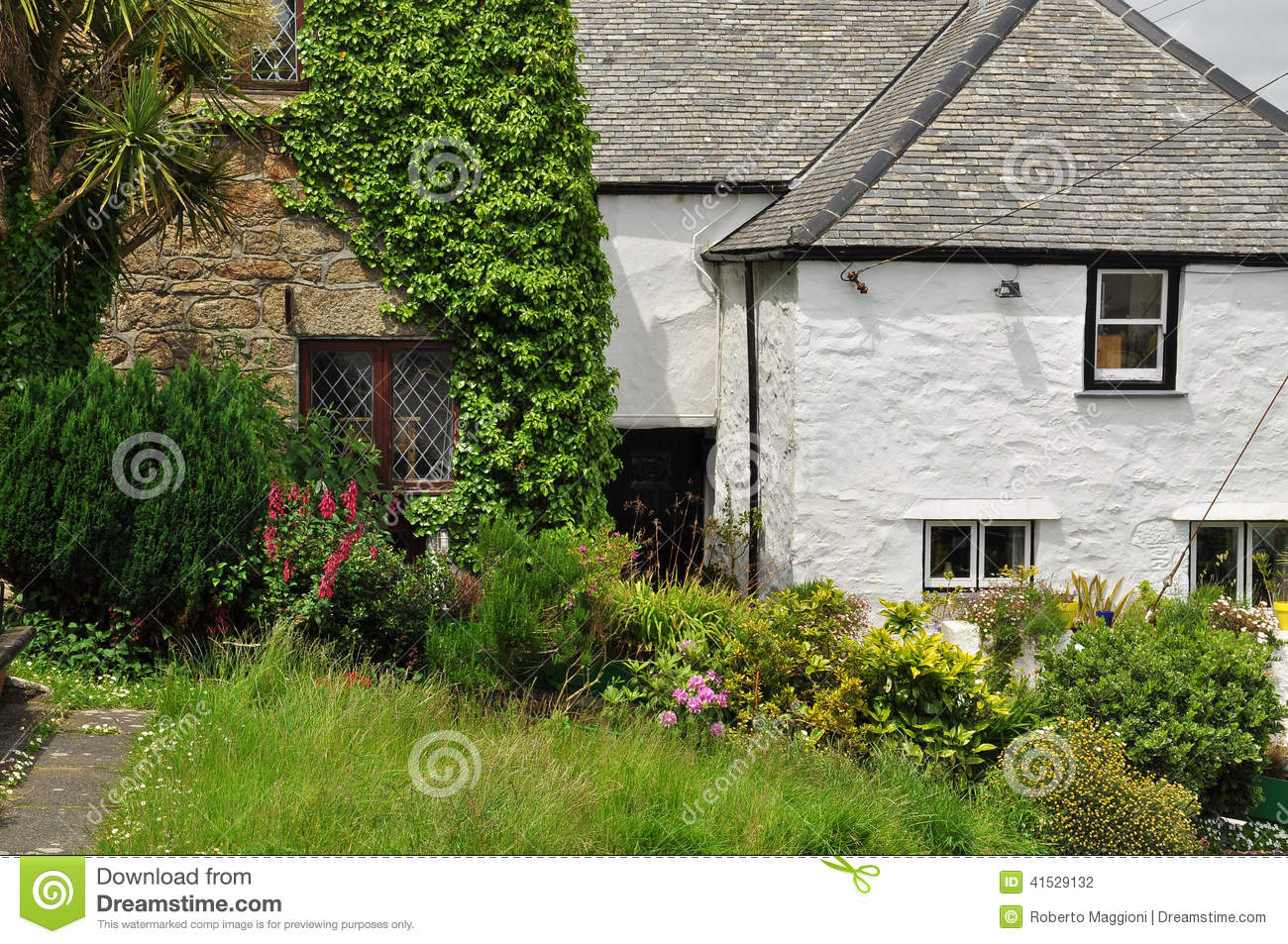 Traditional English Cottage Garden Cornwall England UK