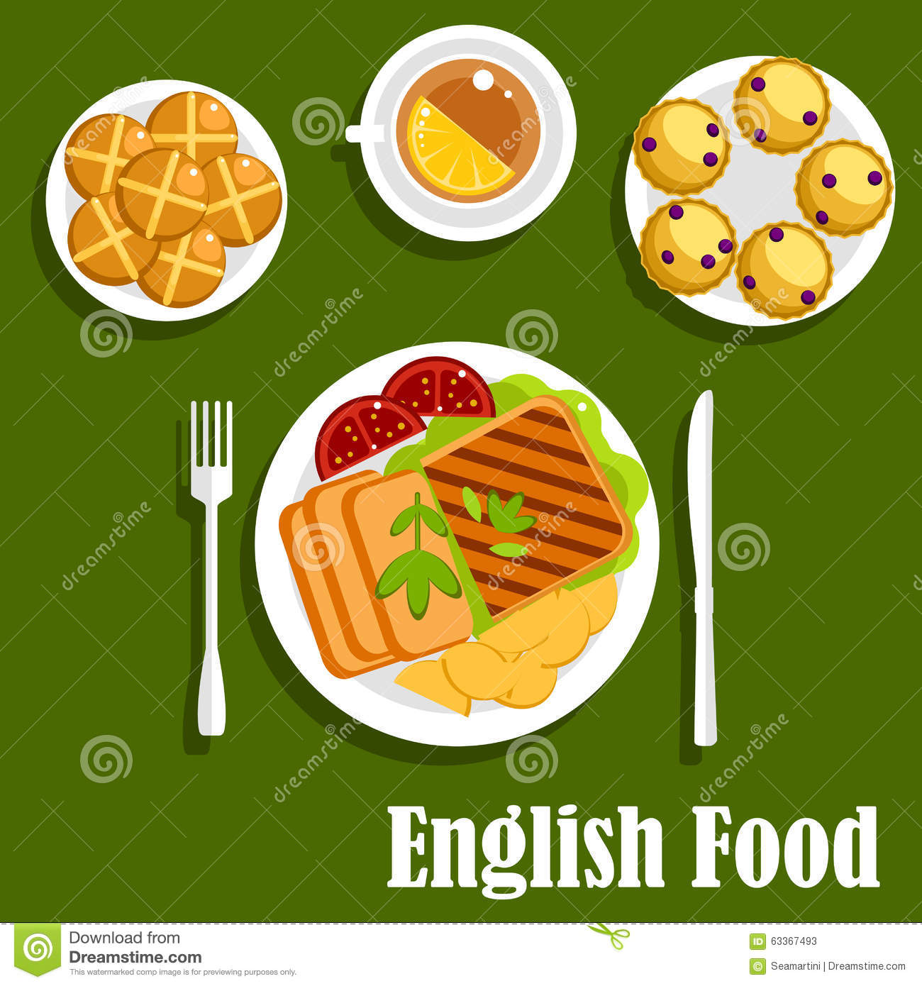 Traditional english cuisine lunch food stock vector for Cuisine in english