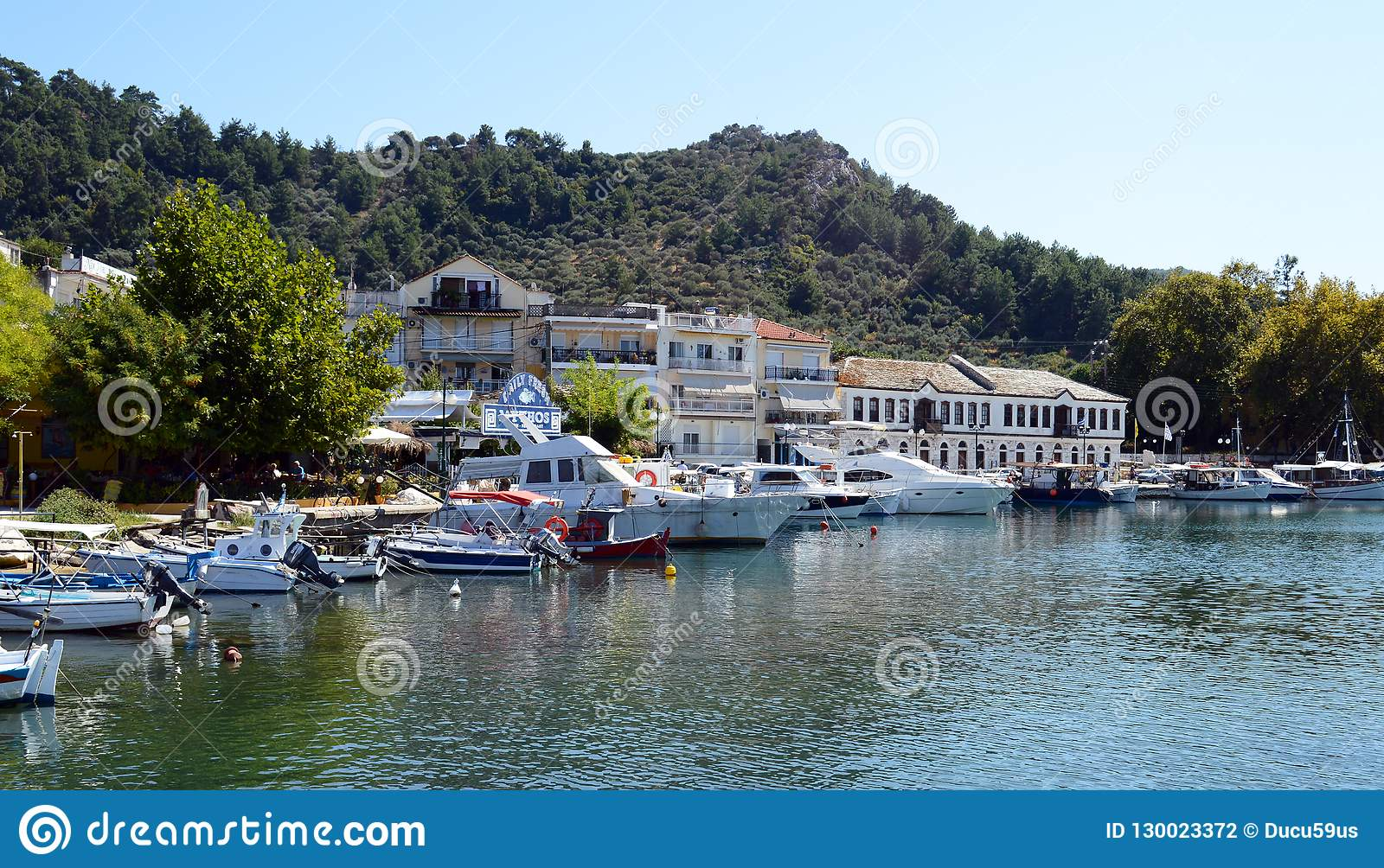 Traditional Fishing Boats In Old Thassos Harbor Limenas In