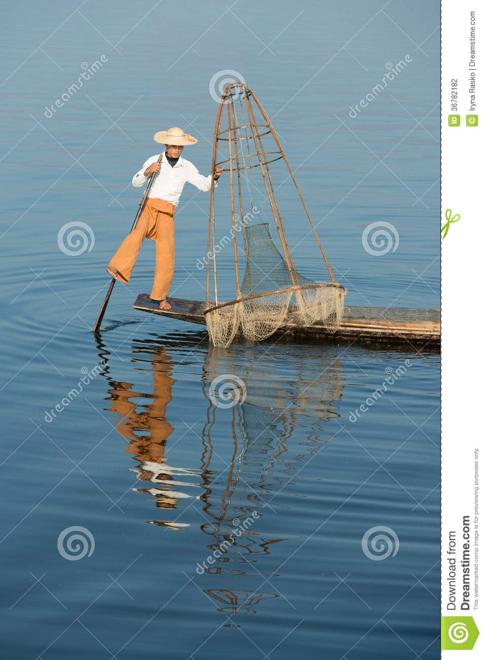 Traditional fishing by net in burma stock photography for How to catch fish in a lake