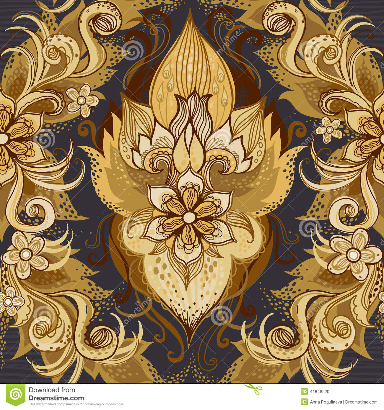 Traditional Floral Pattern In Retro Style Stock Vector