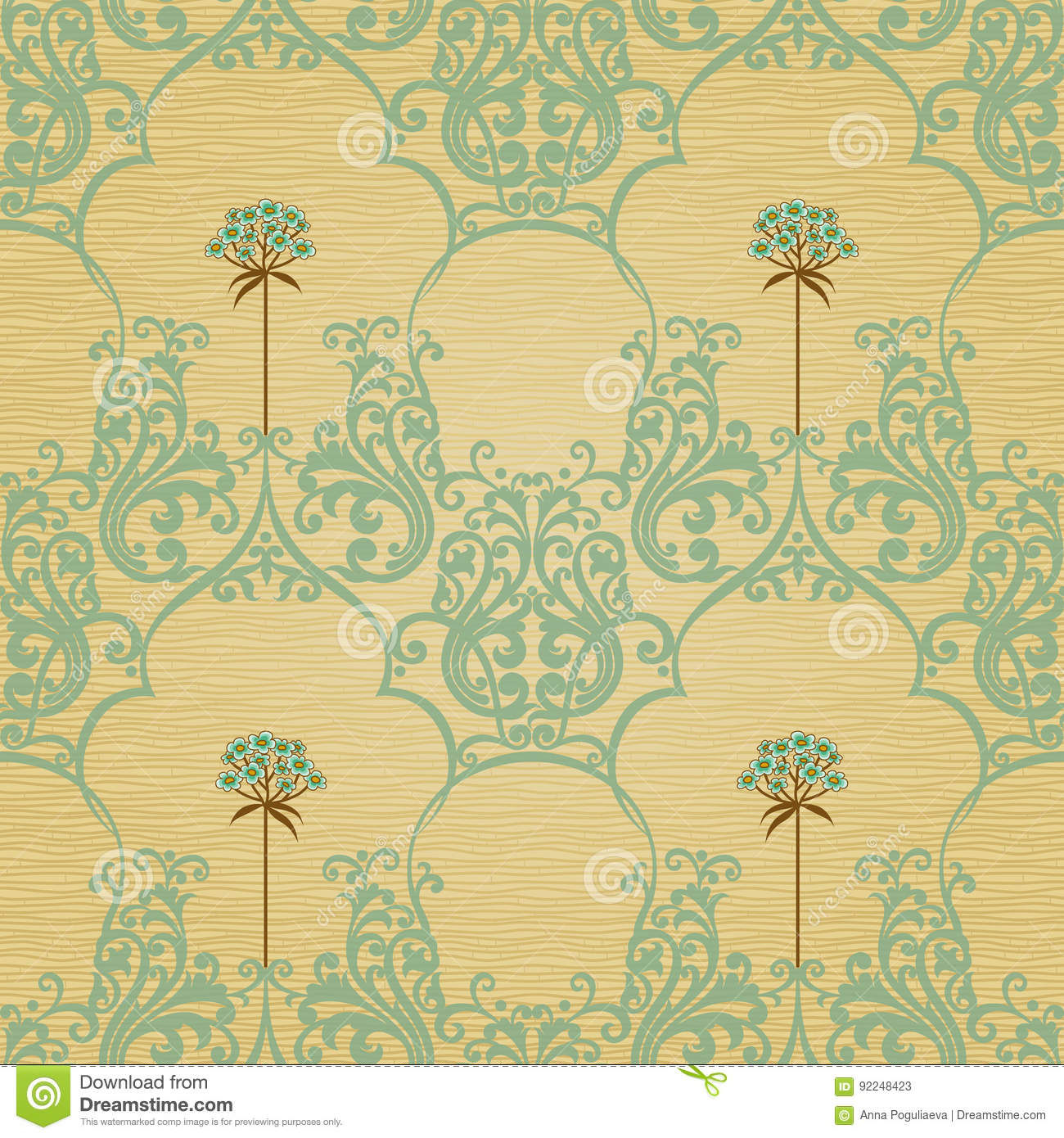 Traditional Floral Pattern In Retro Style Stock Illustration