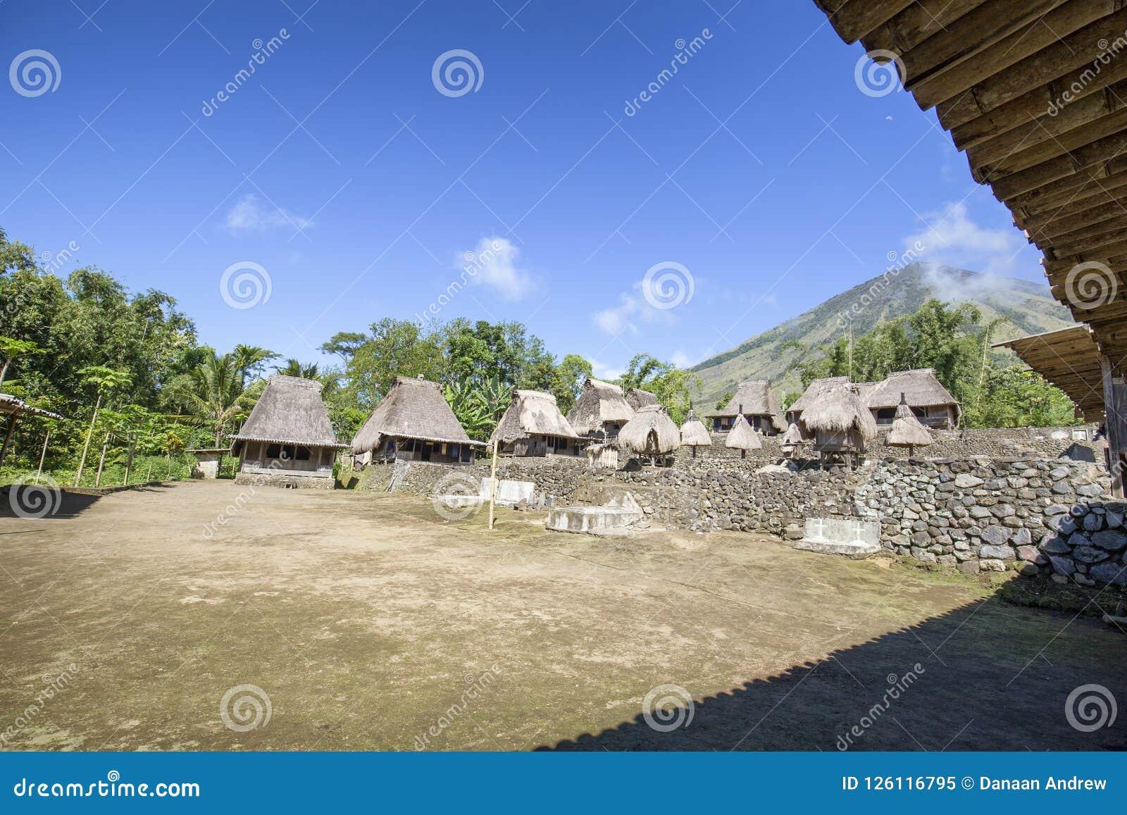 Traditional Flores Village Stock Image Image Of Bena