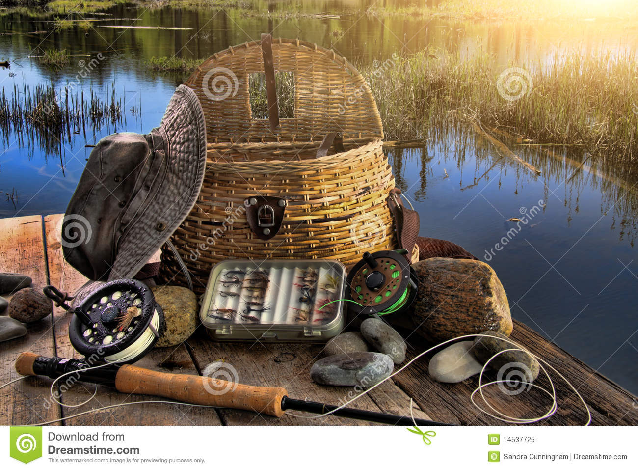 Traditional Fly-fishing Rod In Late Afternoon Stock Image ...