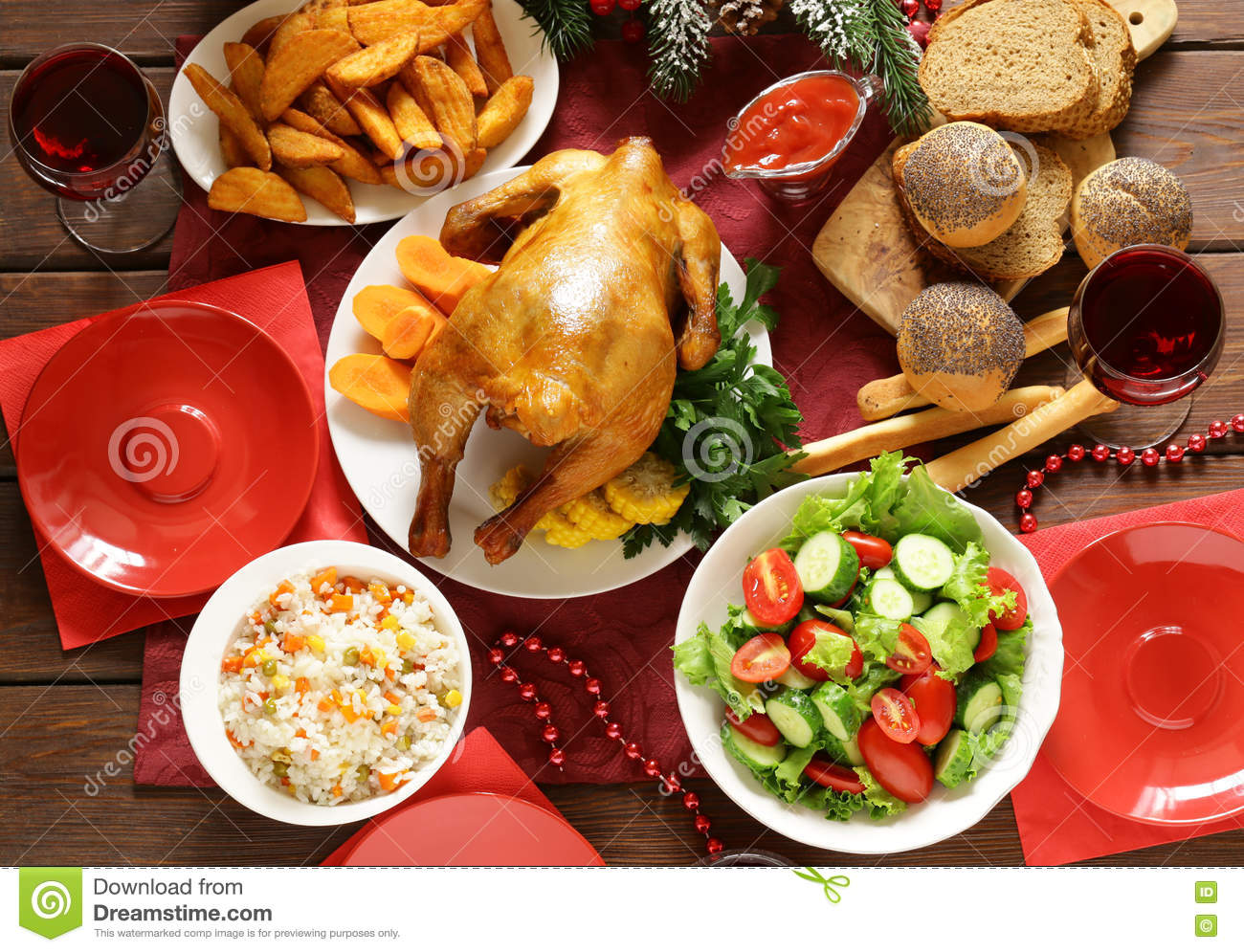 Family dinner table with food - Traditional Food For Christmas Dinner Festive Table Setting Royalty Free Stock Images