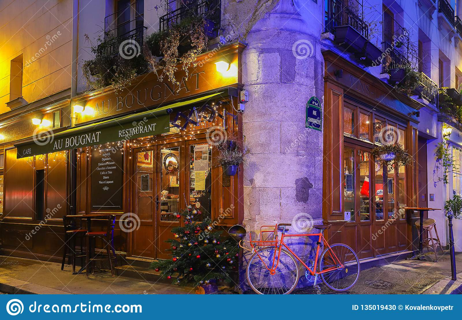 Christmas Paris France.The Traditional French Cafe Au Bougnat Decorated For