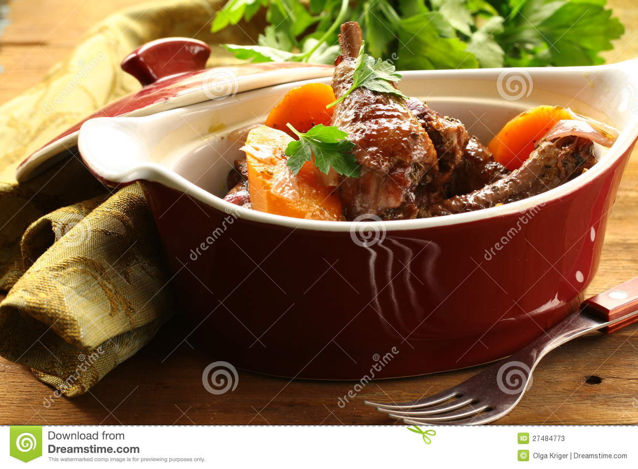 Traditional french cuisine chicken in wine stock photos for Authentic french cuisine