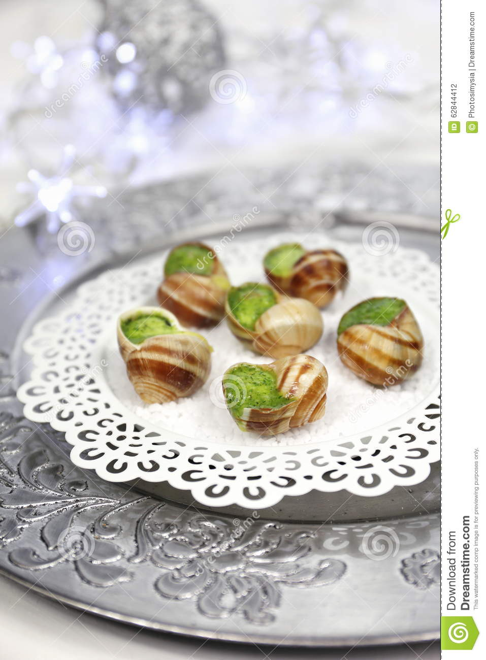Traditional French Cuisine Snails Sauce Burgundy Stock Photo
