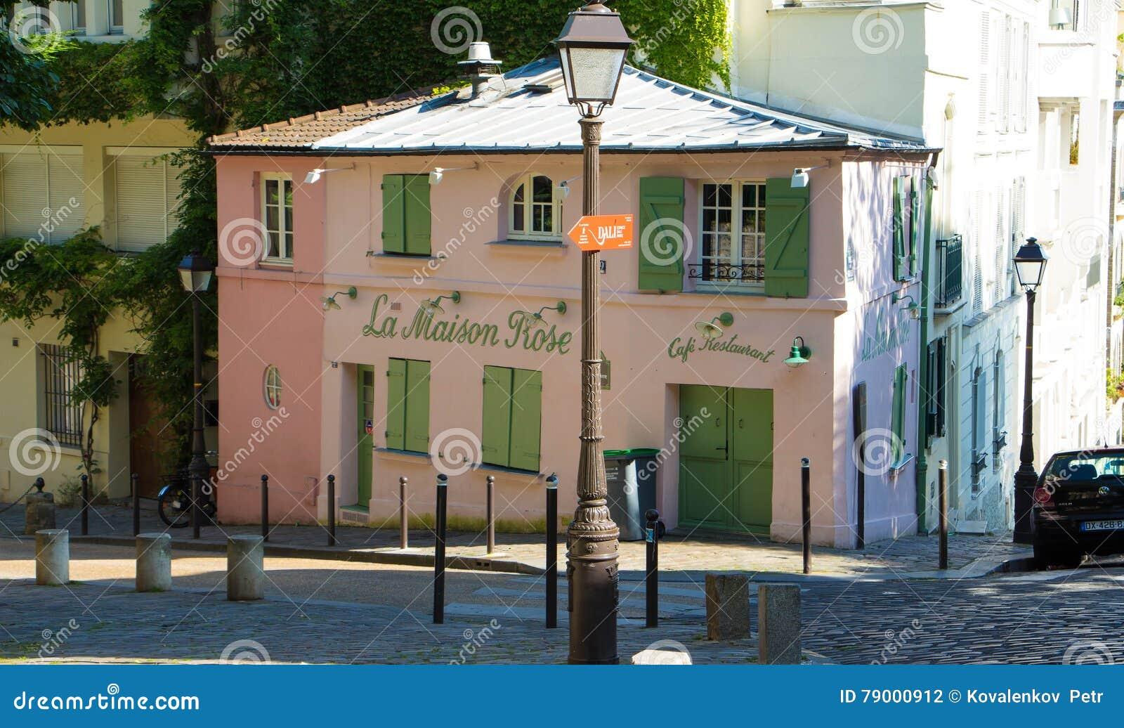 Paris france july 09 2016 the traditionnal french restaurant la maison rose located in picturesque montmartre district of paris
