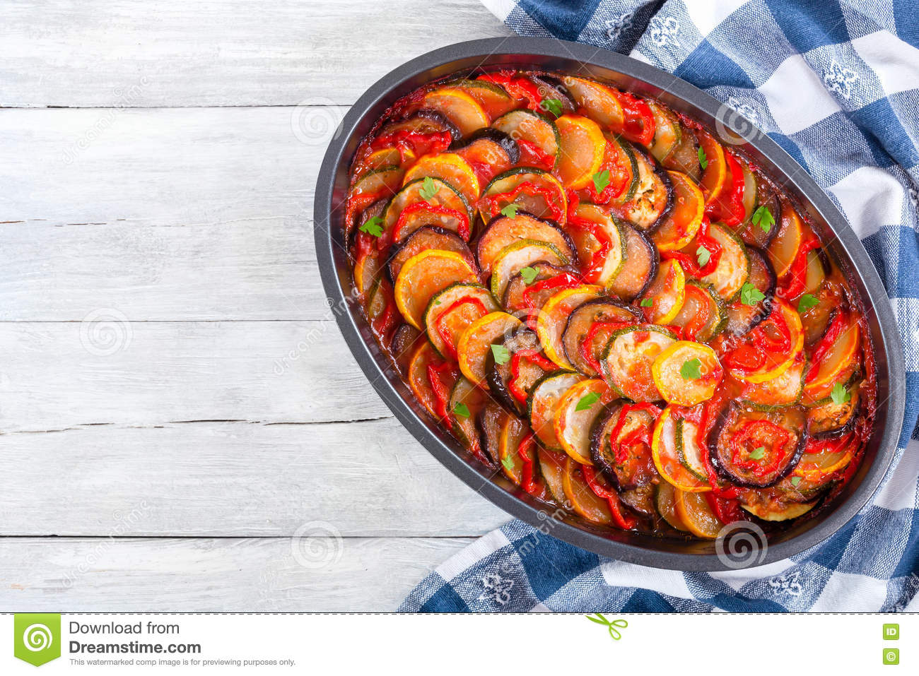 Traditional French vegetable casserole ratatouille, top view