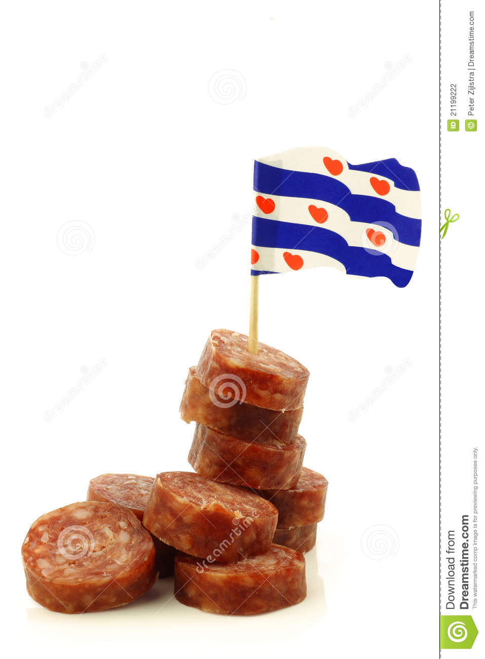 Traditional frisian dried sausage pieces