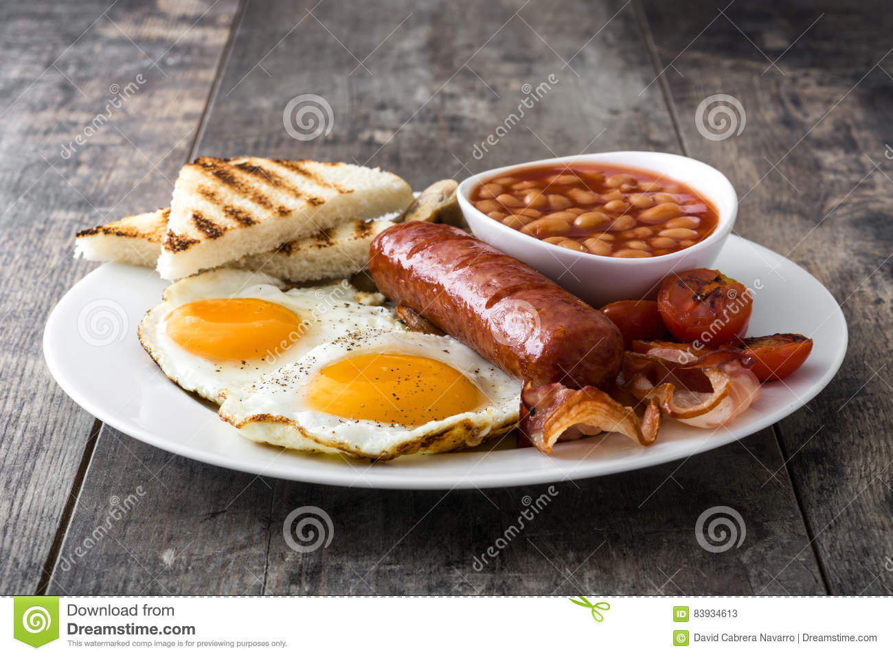 Traditional Full English Breakfast With Fried Eggs Sausages Beans Mushrooms Grilled Tomatoes