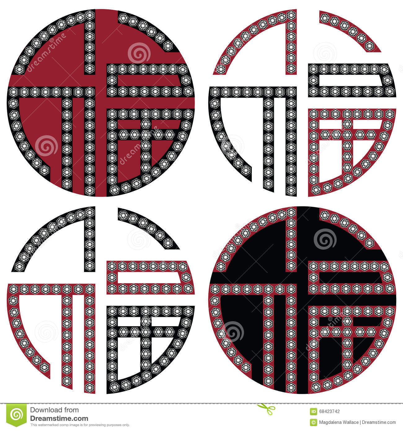 Traditional geometric oriental korean symmetrical good fortune zen traditional geometric oriental korean symmetrical good fortune zen symbols in black white and red with diamonds element in tattoo biocorpaavc Choice Image