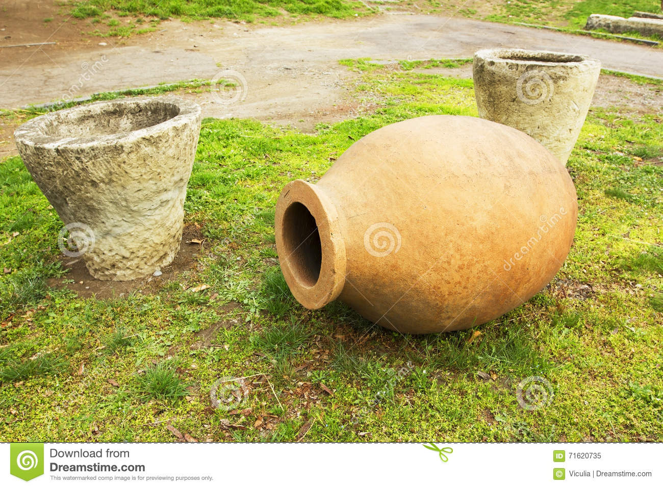 traditional georgian big jugs for wine in tbilisi stock image
