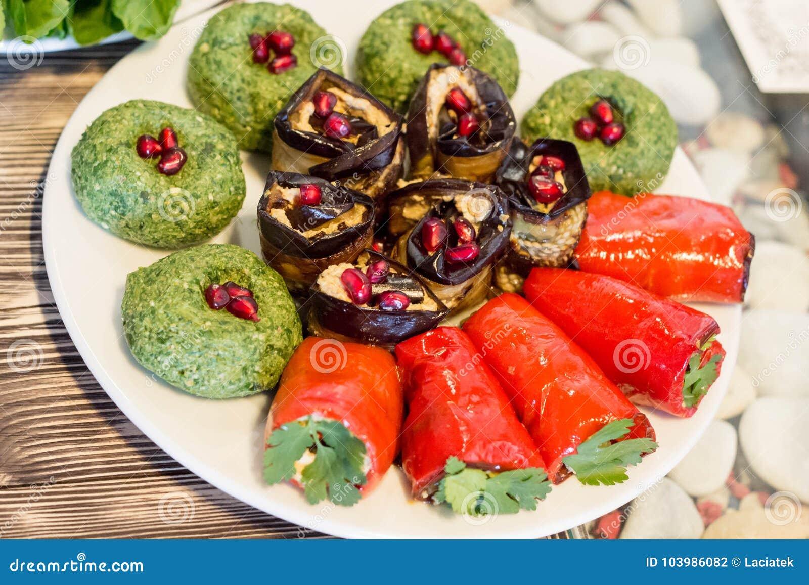 Traditional georgian food : Badridżani and stuffed vegetables