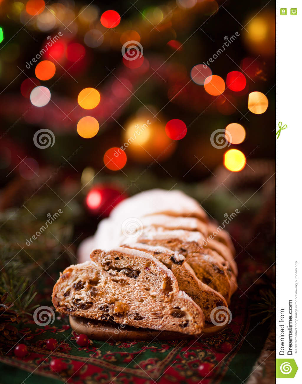 Traditional german christmas decorations - Traditional German Christmas Cake Cranberry Stollen Holiday Xmas Celebration Decorations Ornaments And Candles