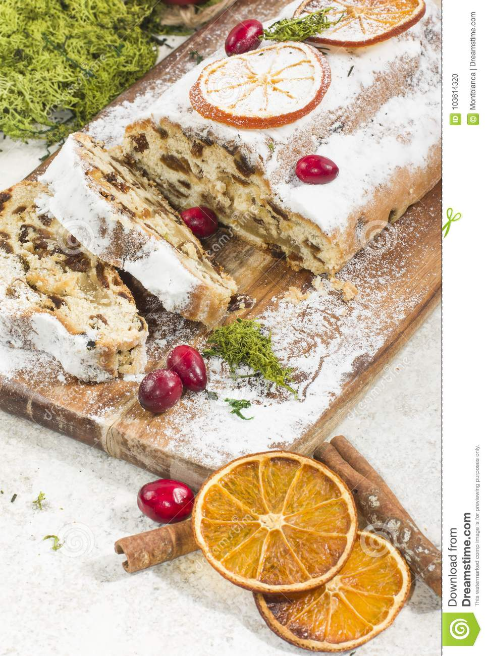 download traditional german christmas cake with raisins and martzipan dr stock photo image of