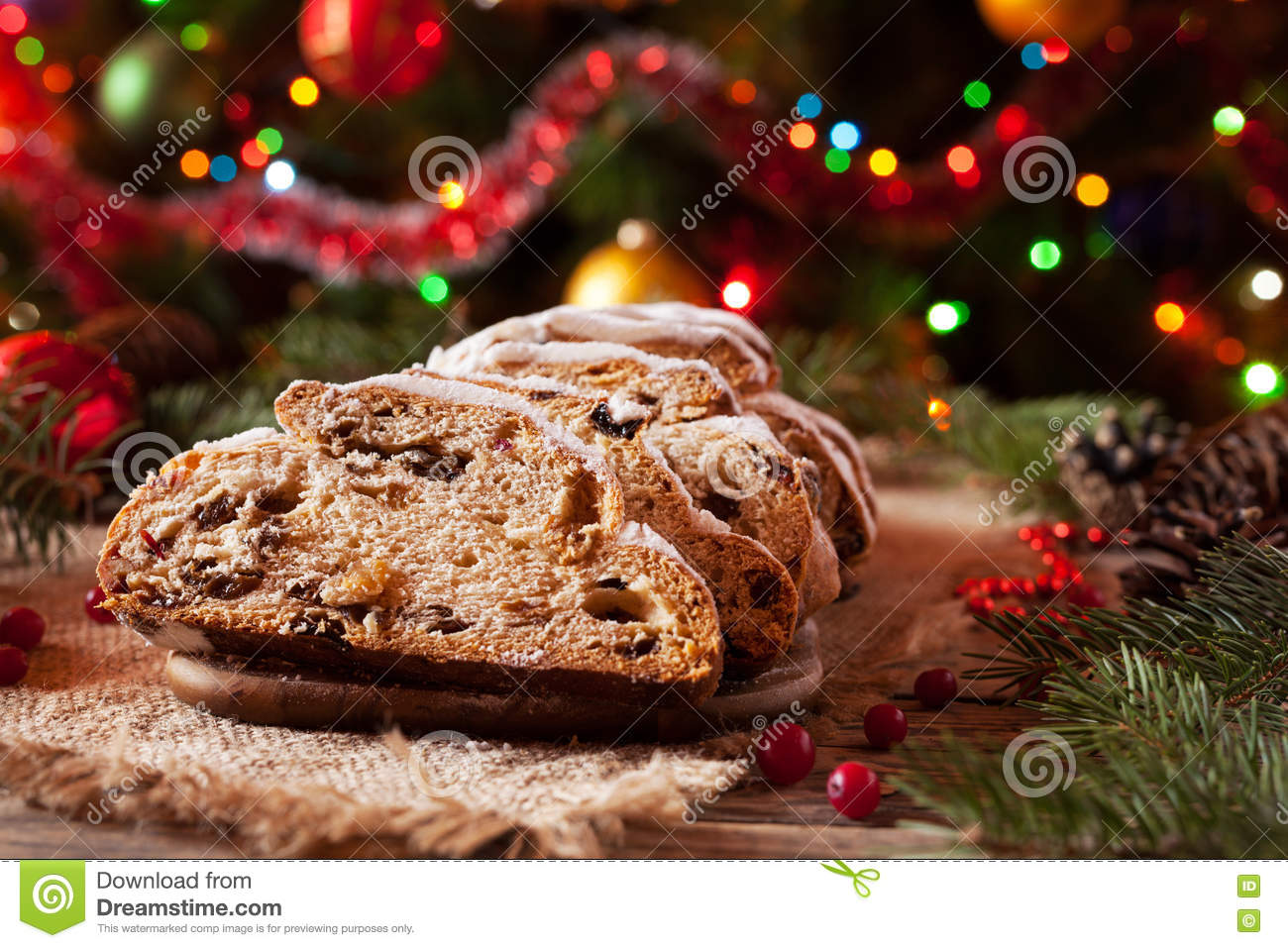 download traditional german christmas cake stollen with marzipan nuts and berries celebration decorations