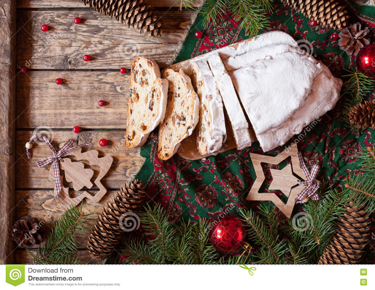 Traditional german christmas decorations - Traditional German Christmas Ornaments Traditional German Christmas Cake Stollen With Marzipan Nuts Berries And Raising