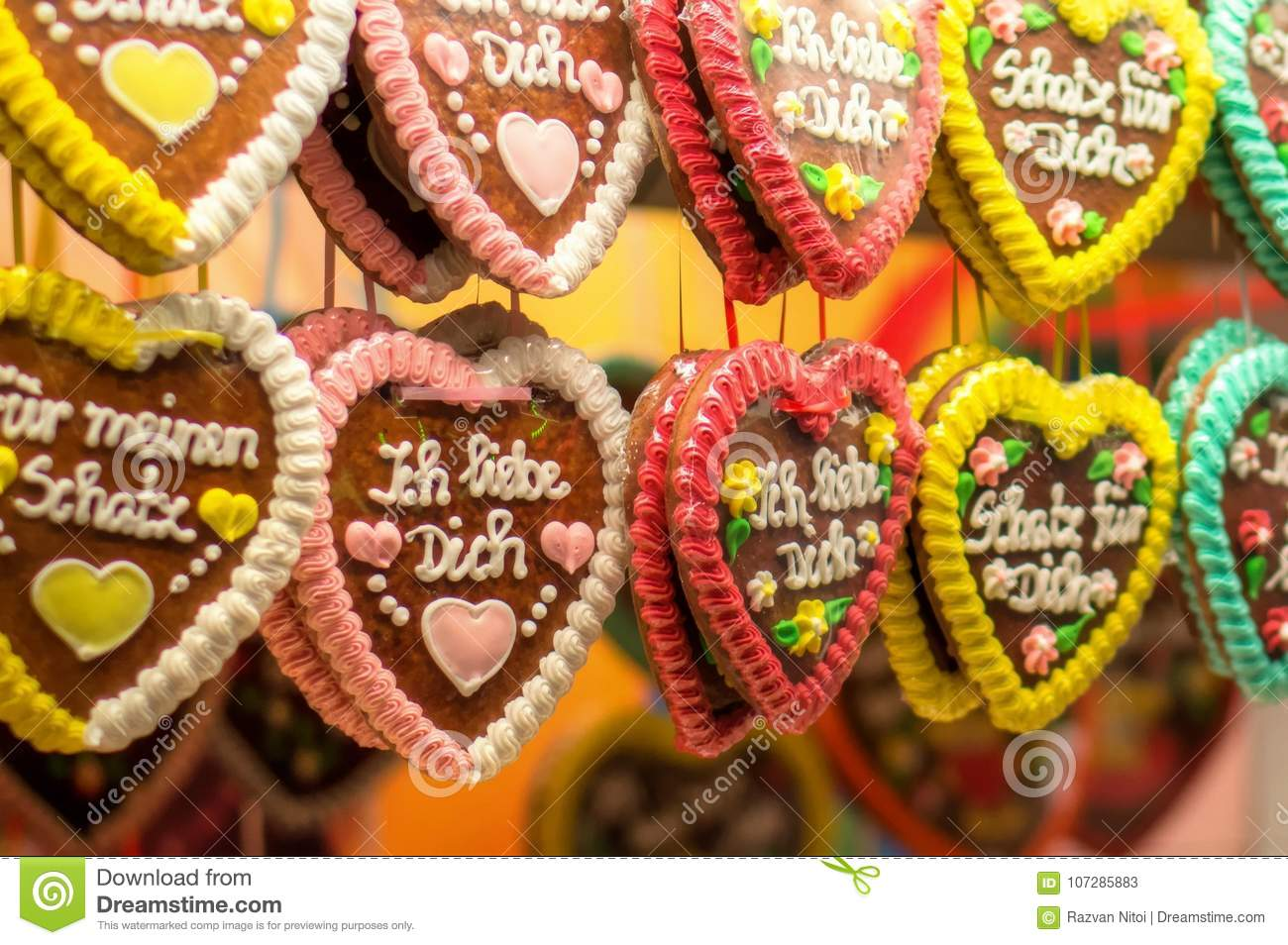 Traditional German Gingerbread Heart Shaped Cookies Stock Image