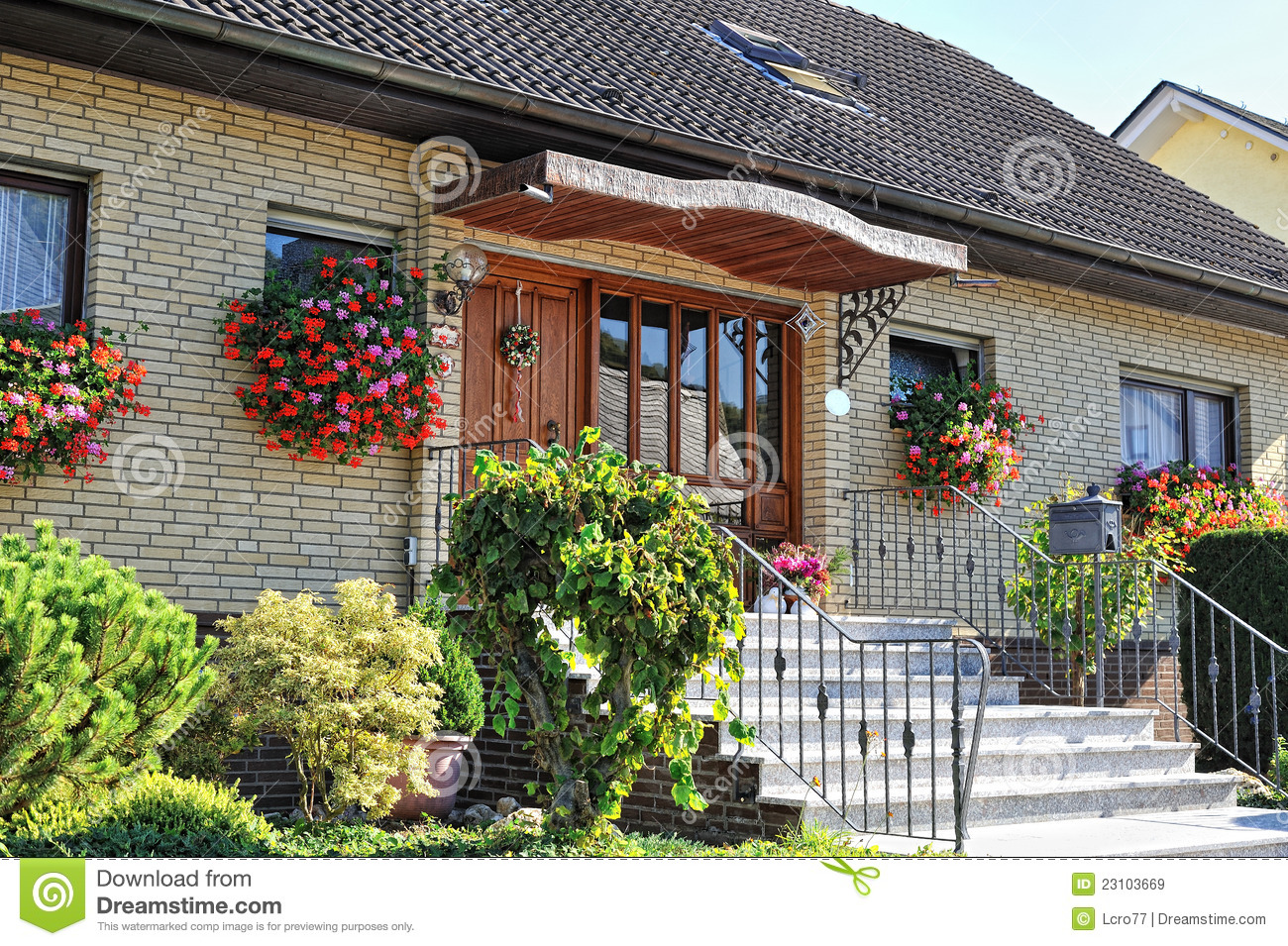 Traditional german house with small garden royalty free for Small traditional house