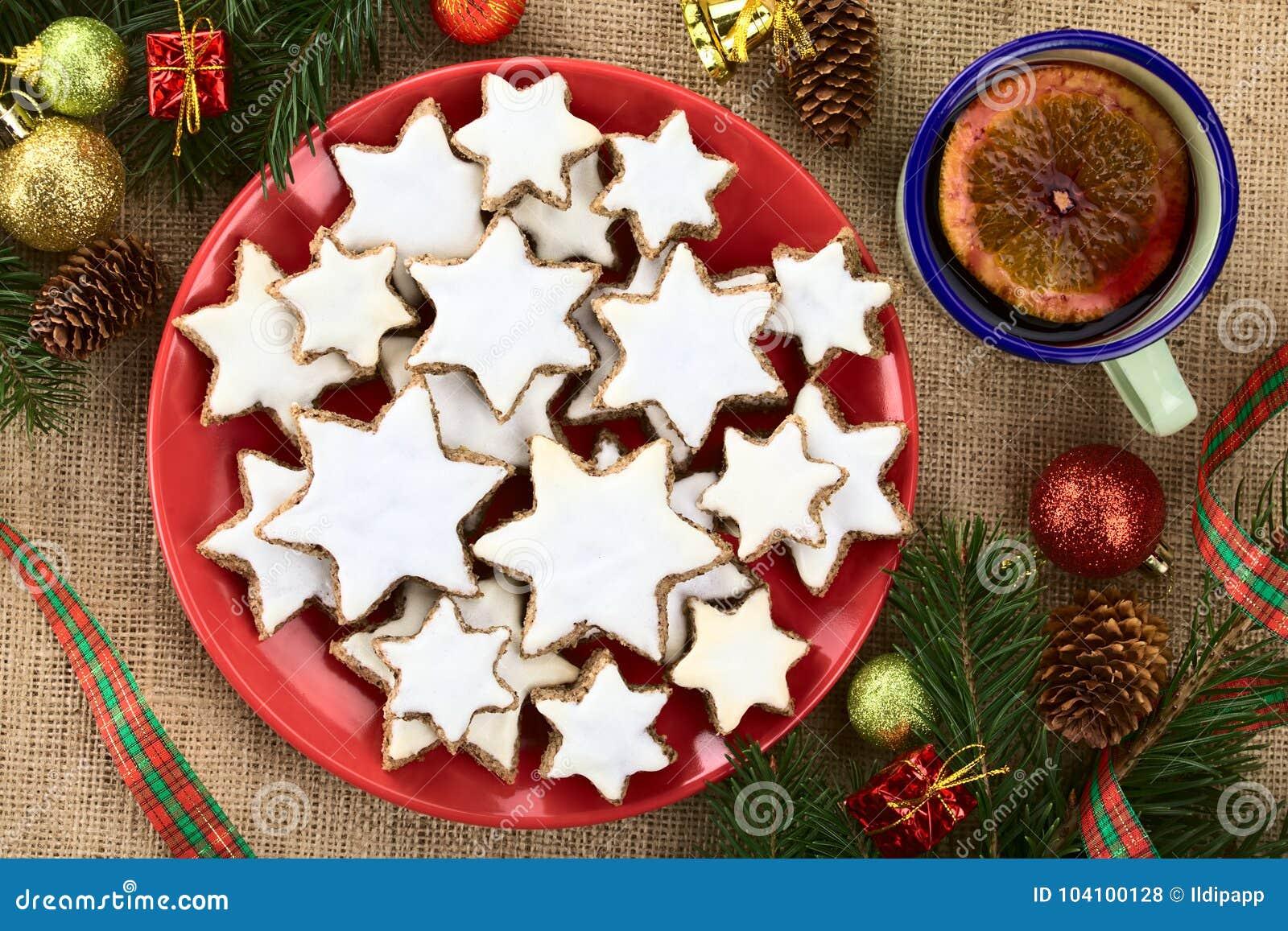 Traditional German Zimtsterne Cinnamon Stars Christmas Cookies Stock