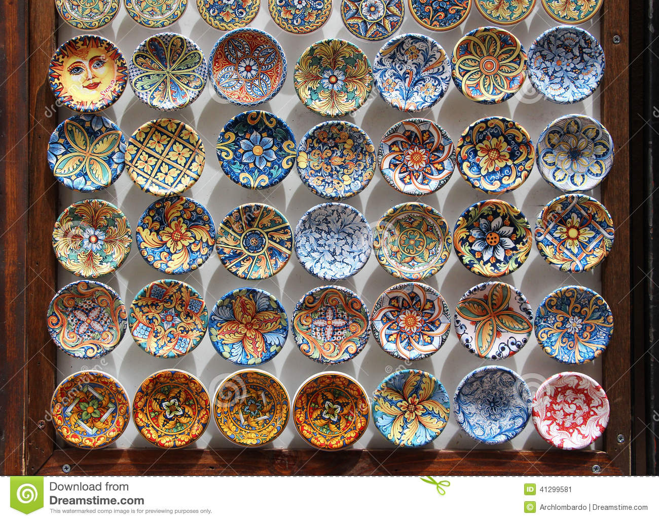 Traditional glazed ceramic plates & Traditional Glazed Ceramic Plates Stock Image - Image of erice ...