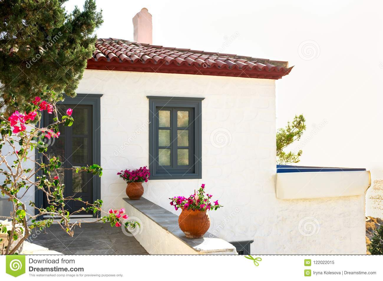 Traditional Greece White House And Flowers Stock Image Image Of