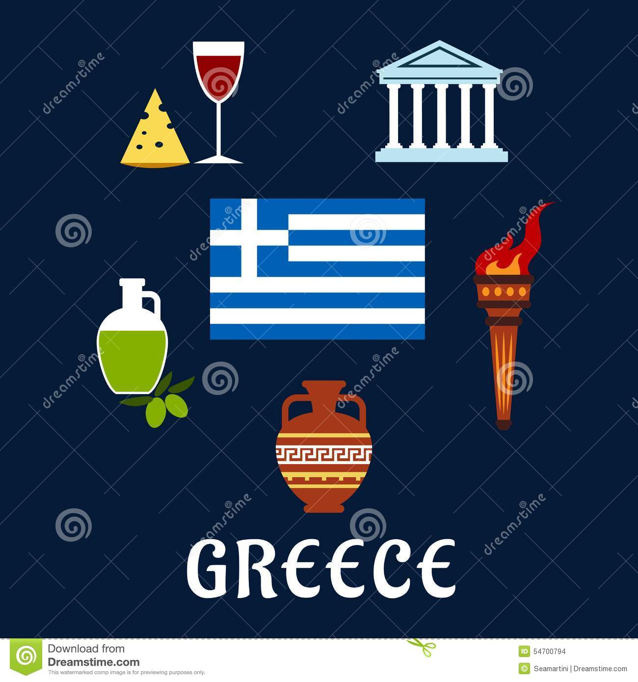 Traditional greece symbols and culture icons stock vector traditional greece symbols and culture icons biocorpaavc Image collections