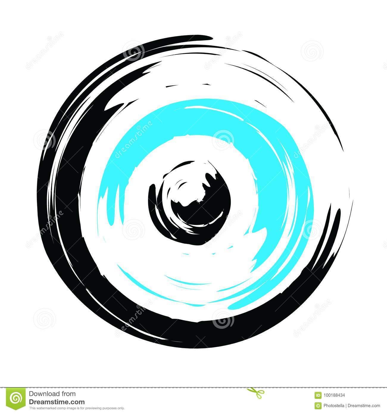 Traditional Greek Evil Eye In Black And Turquoise Color Stock Vector