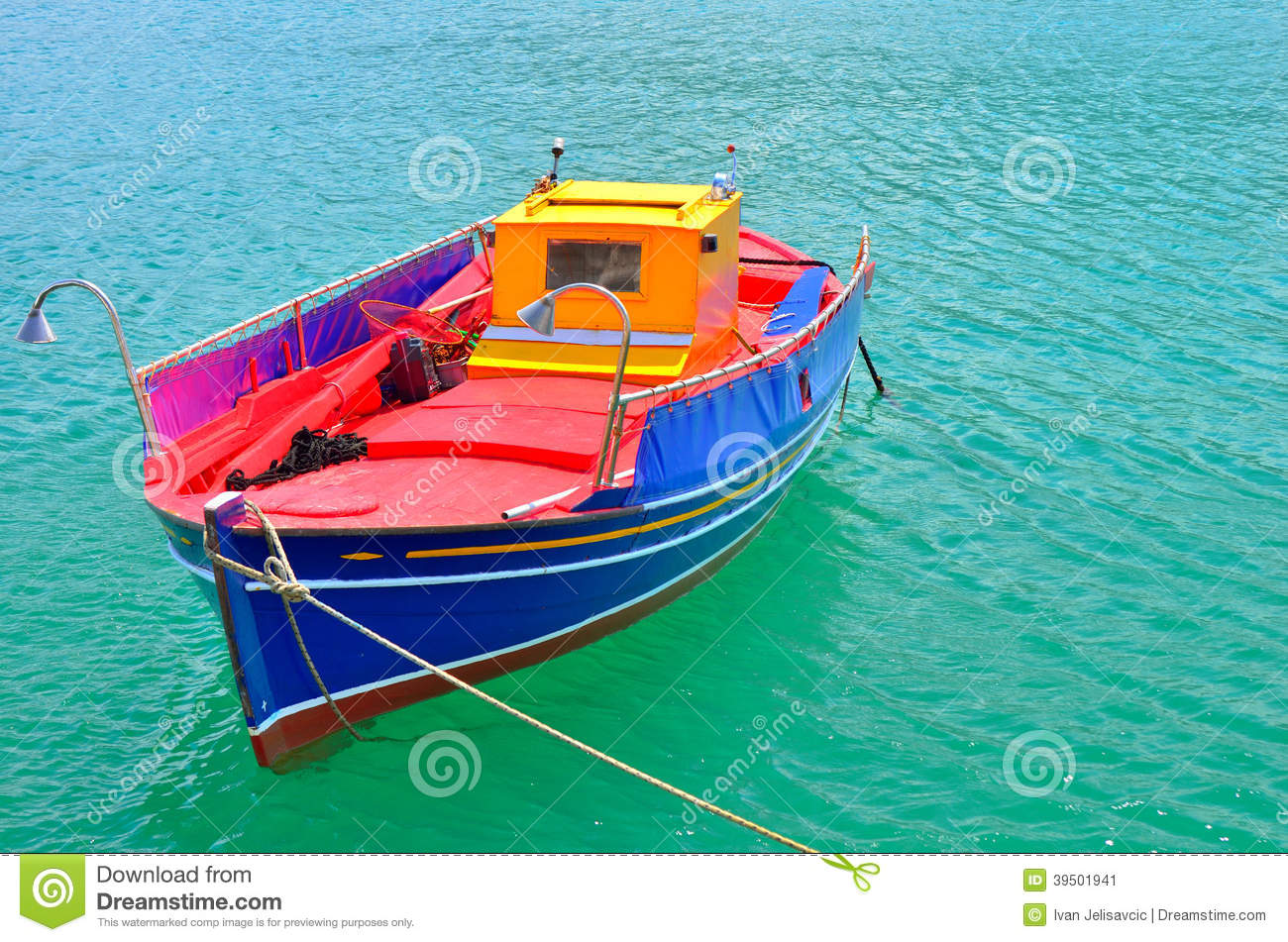 Traditional Greek Fishing Boat Painted In Bright Colors ...