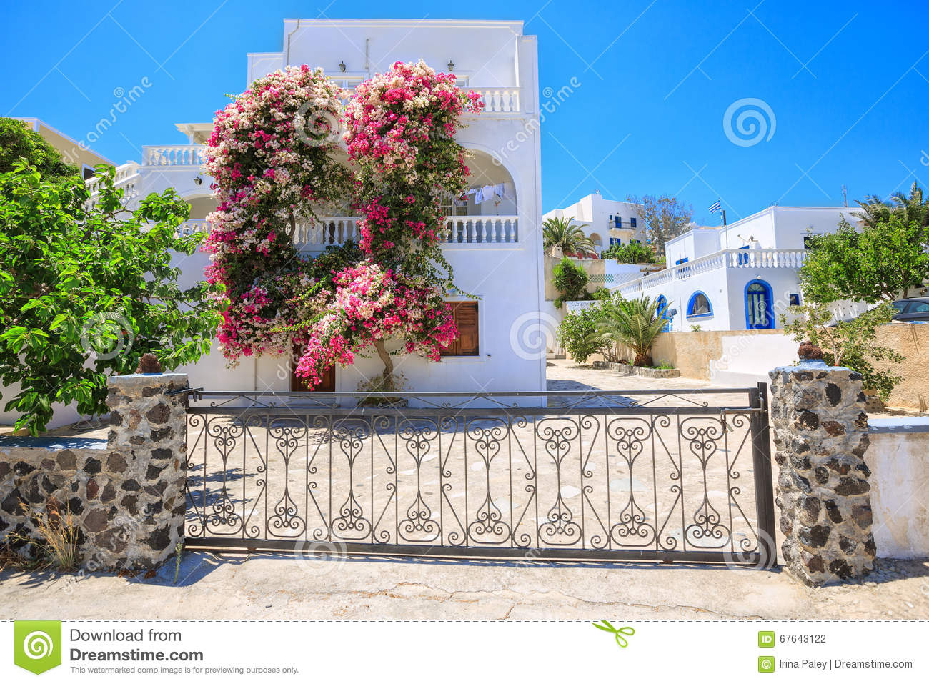 Traditional Greek House traditional greek house with bougainvillea flowers in thira