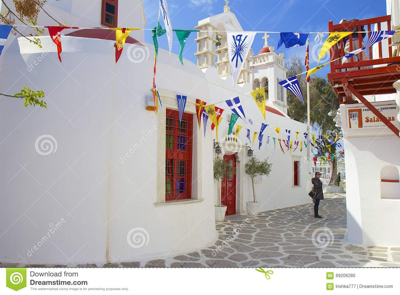 Traditional Greek Houses traditional greek house, mykonos, greece editorial image - image