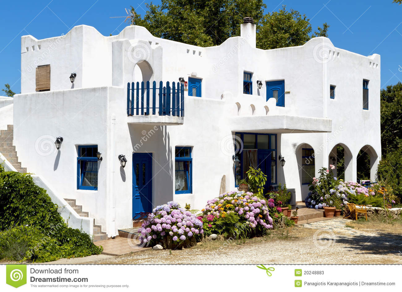 Traditional Greek Houses traditional greek house at samothraki island stock photos - image