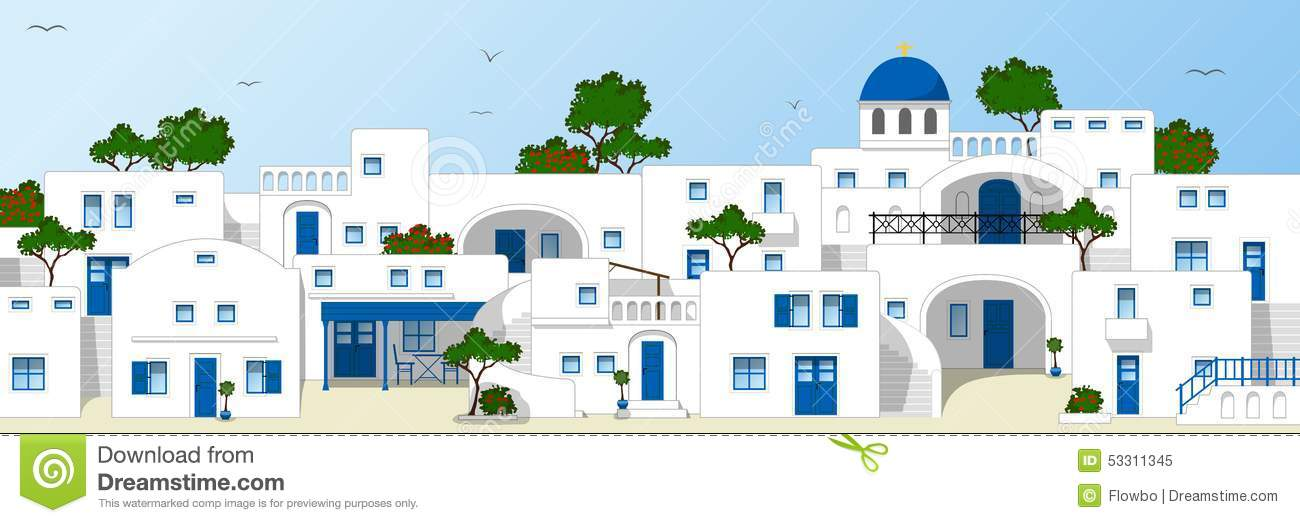 Traditional Greek Houses traditional greek houses stock vector - image: 53311345