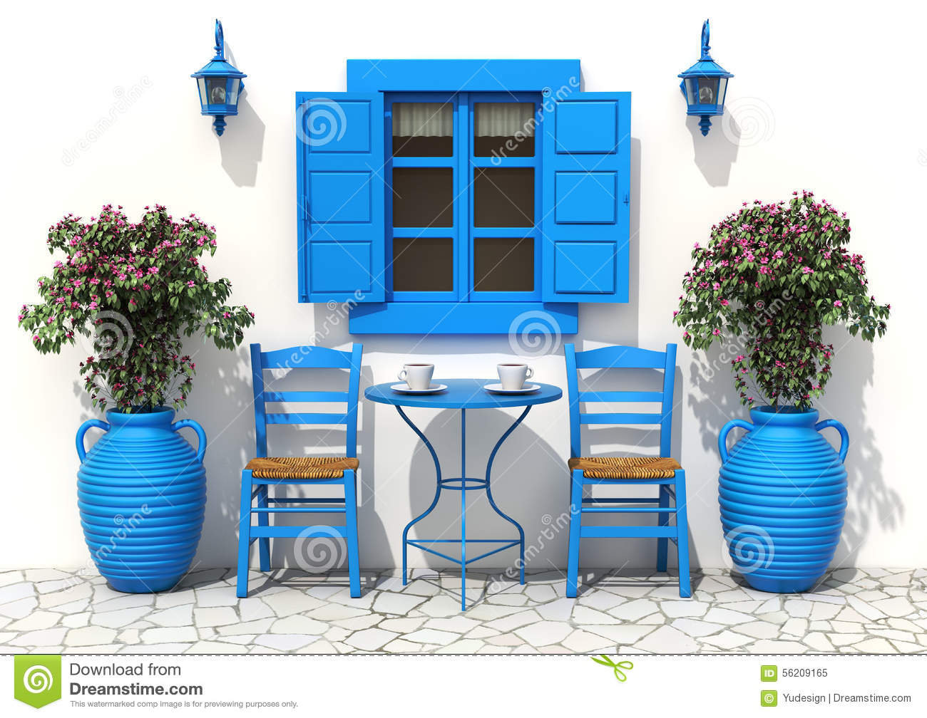 traditional greek terrace stock illustration image of. Black Bedroom Furniture Sets. Home Design Ideas