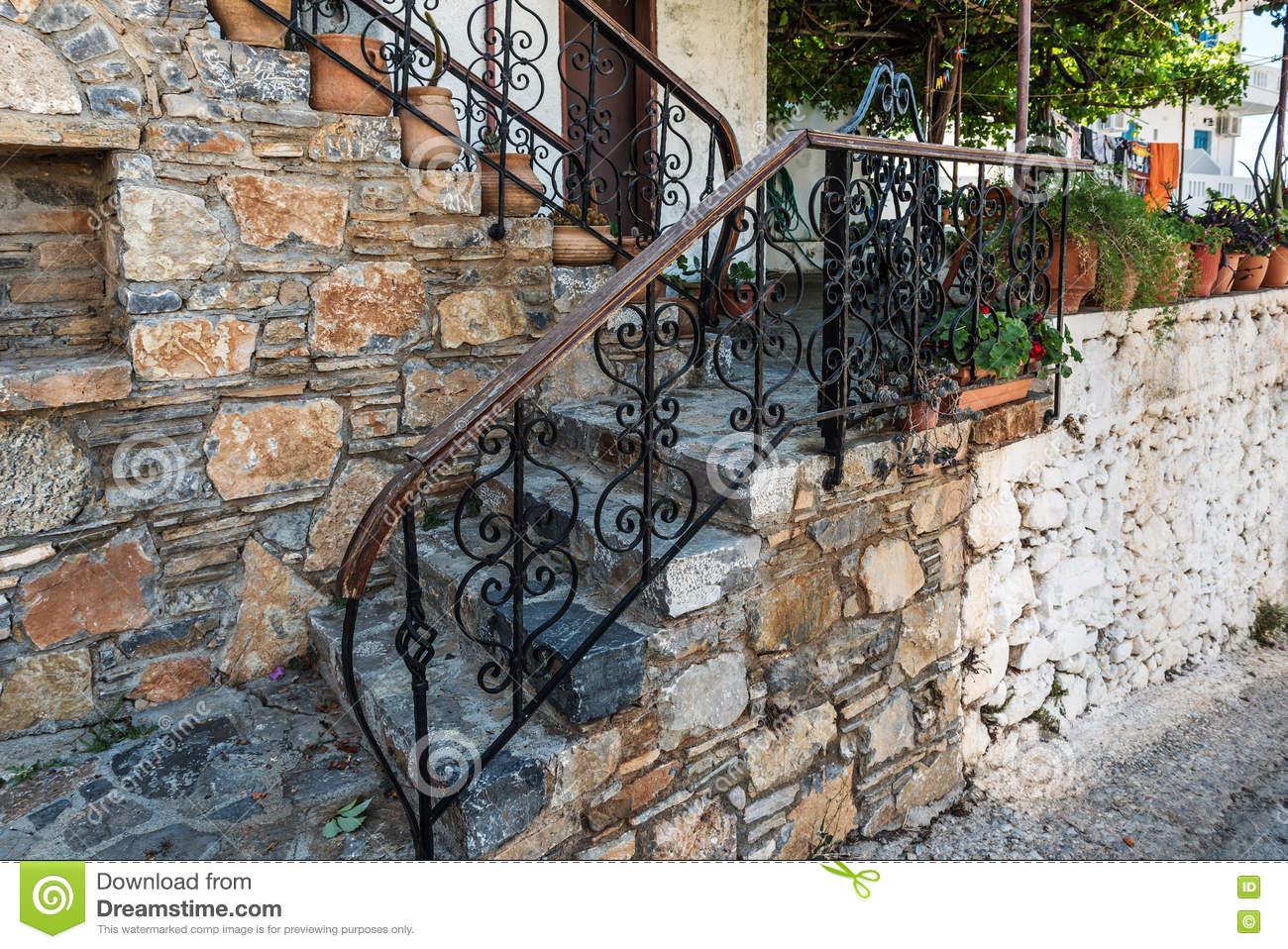 Traditional Greek Vintage Stairs With Beautiful Handrails