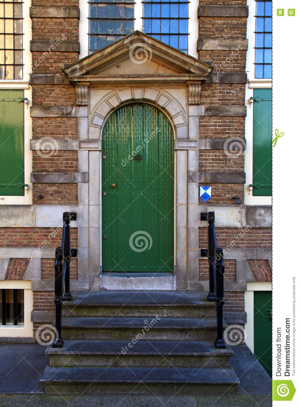Traditional Green Front Door With Steps In Amsterdam Stock Photo ...