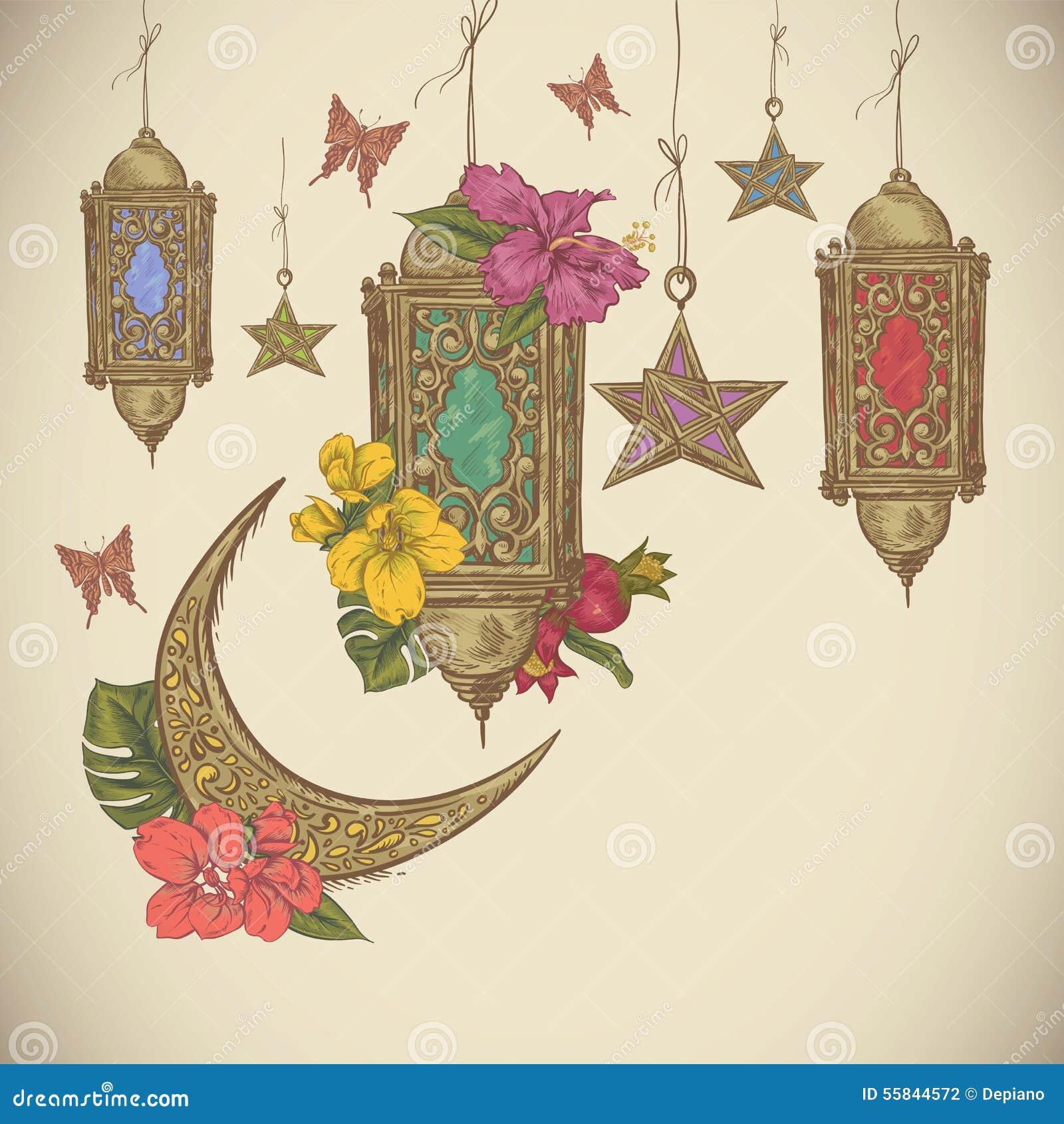 Traditional greeting card with arabic lantern stock vector download traditional greeting card with arabic lantern stock vector illustration of holiday ramadan m4hsunfo