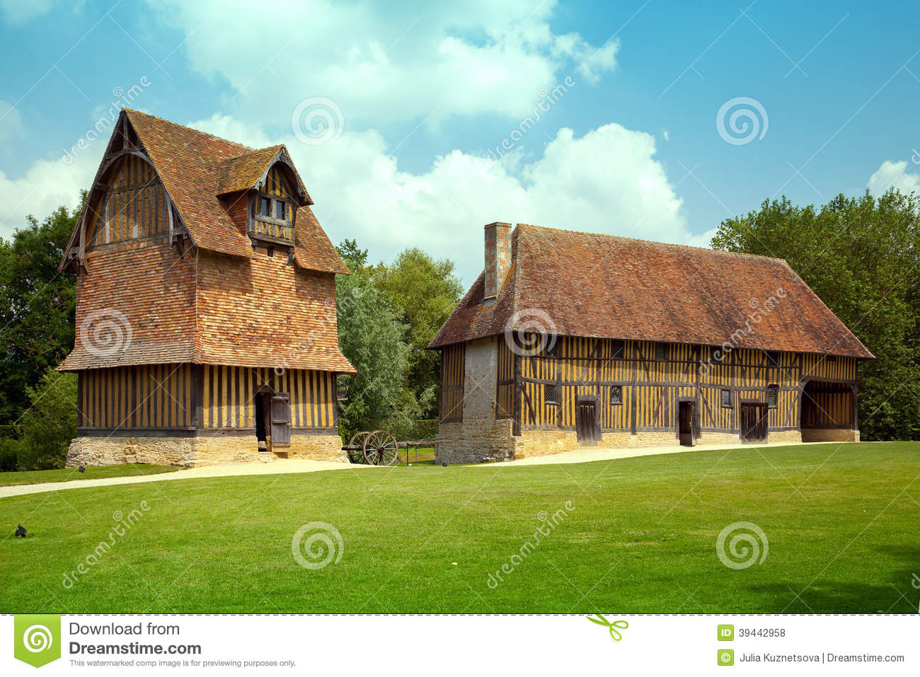 Aframe House Plans Traditional Half Timber Houses In Normandy Stock Photo