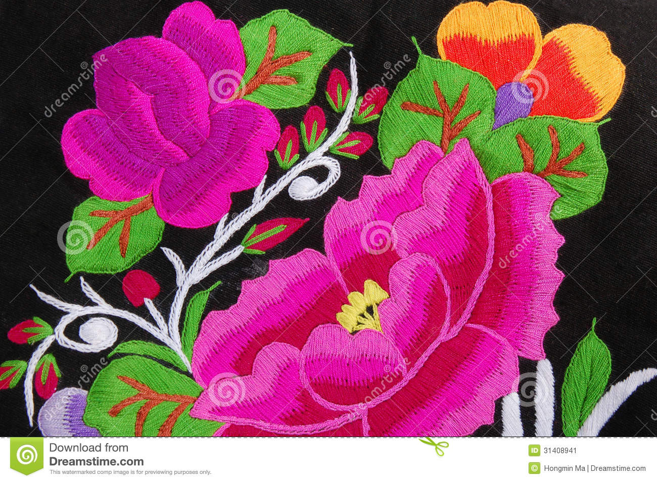 Flower Hand Embroidery Designs Free Download: A Traditional Hand Embroidery Floral Stock Image