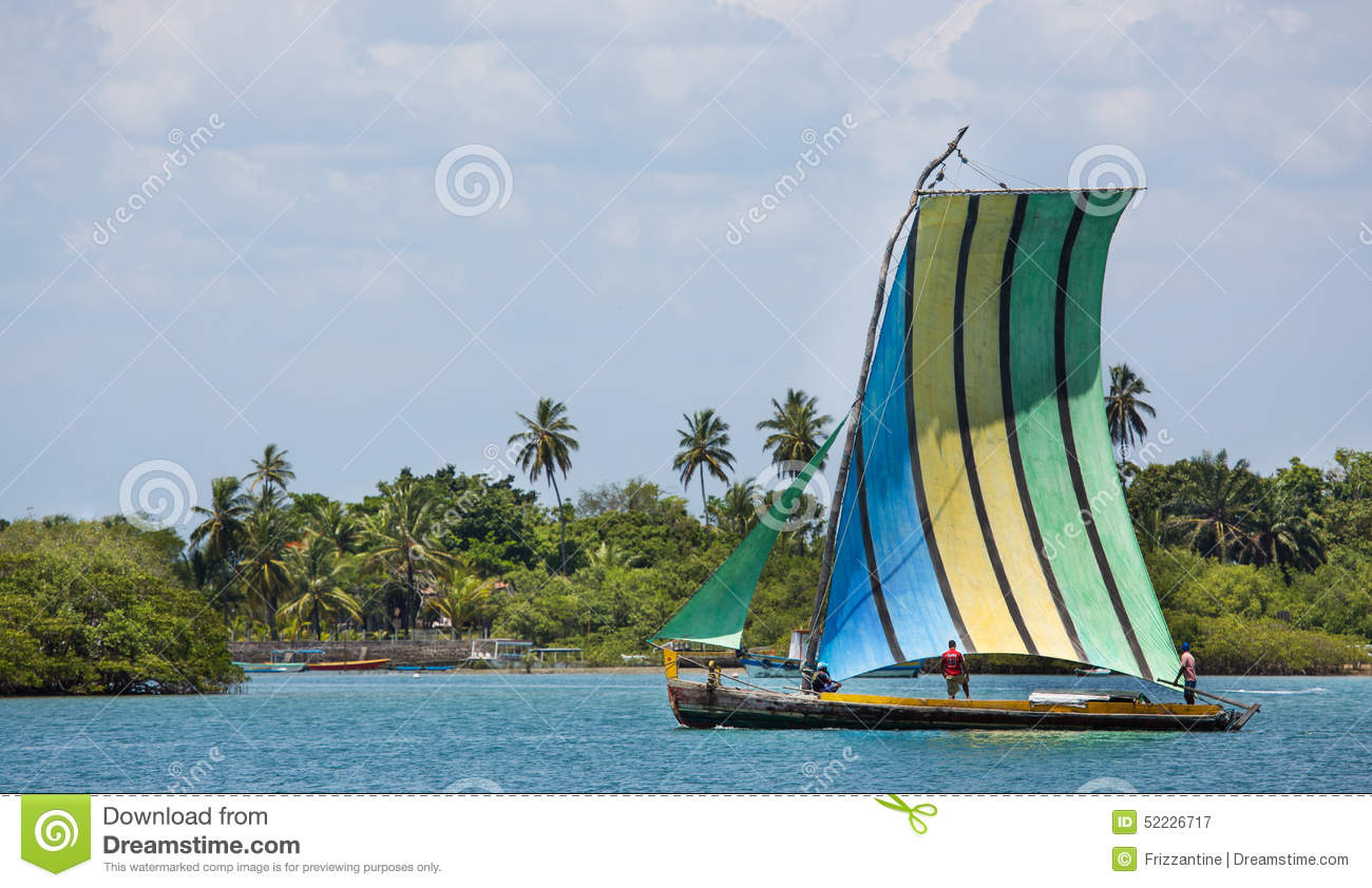 Traditional Handmade Sail Boat In The Amazon Of Brazil. Stock Photo - Image: 52226717