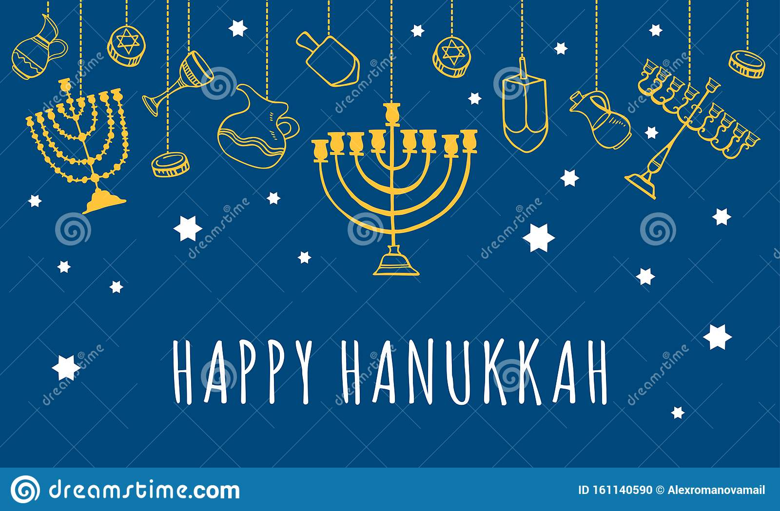 Traditional Hanukkah objects hanging on the top of the page. Greeting card design template. Hand drawn outline sketch illustration