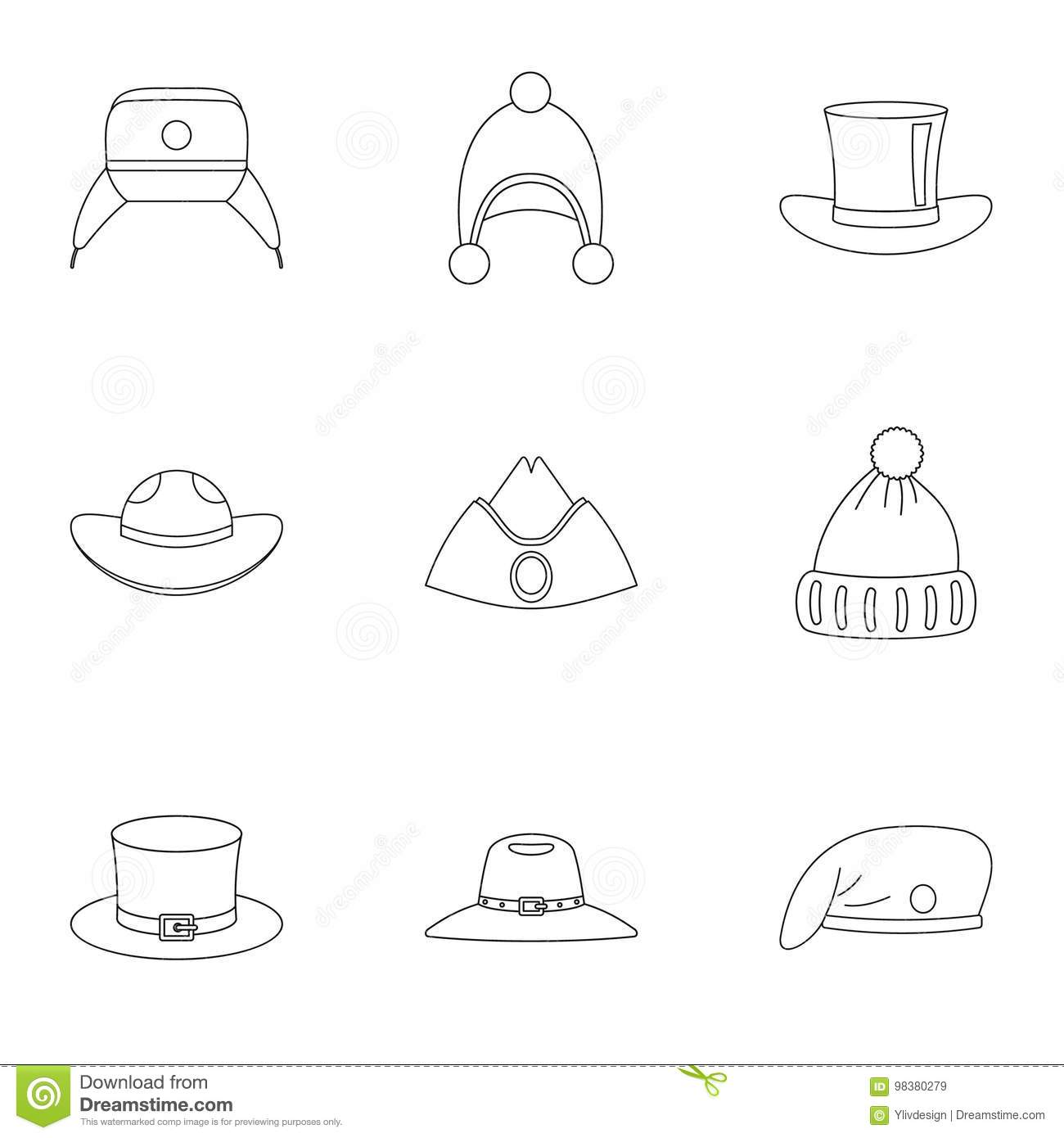 Traditional Hat Icon Set 6915a30df0b