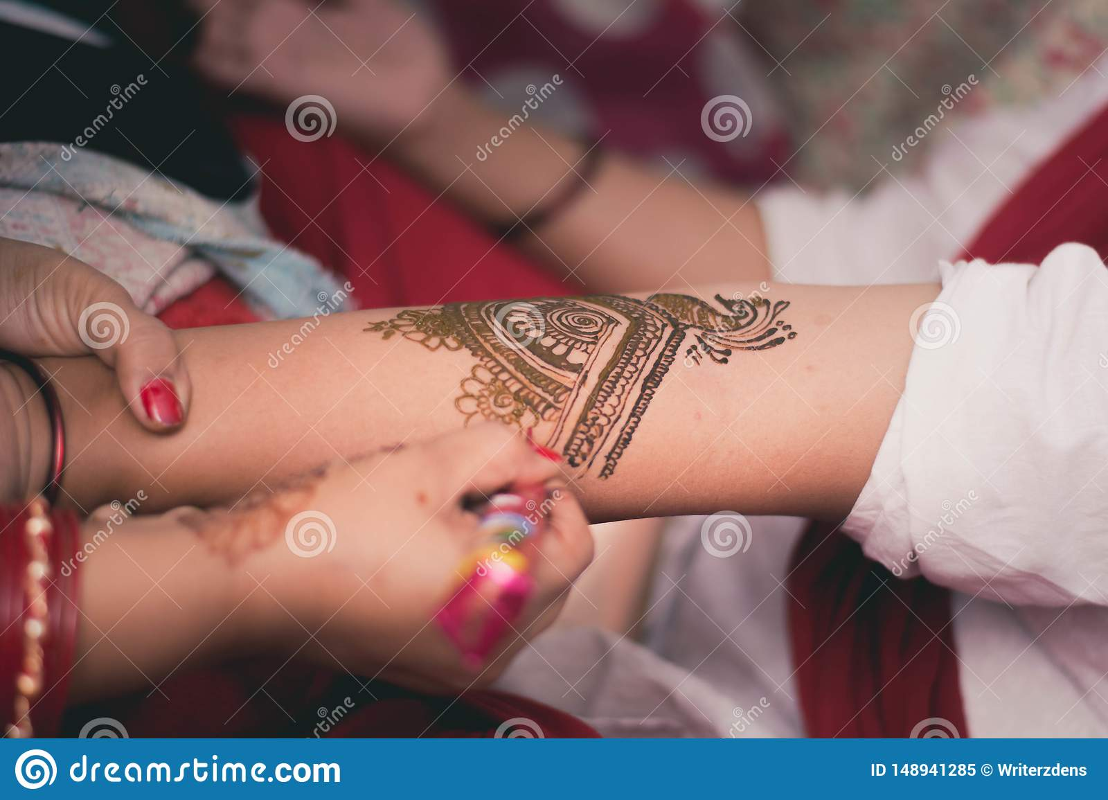Traditional Henna Art Work on Indian Girl`s Hand