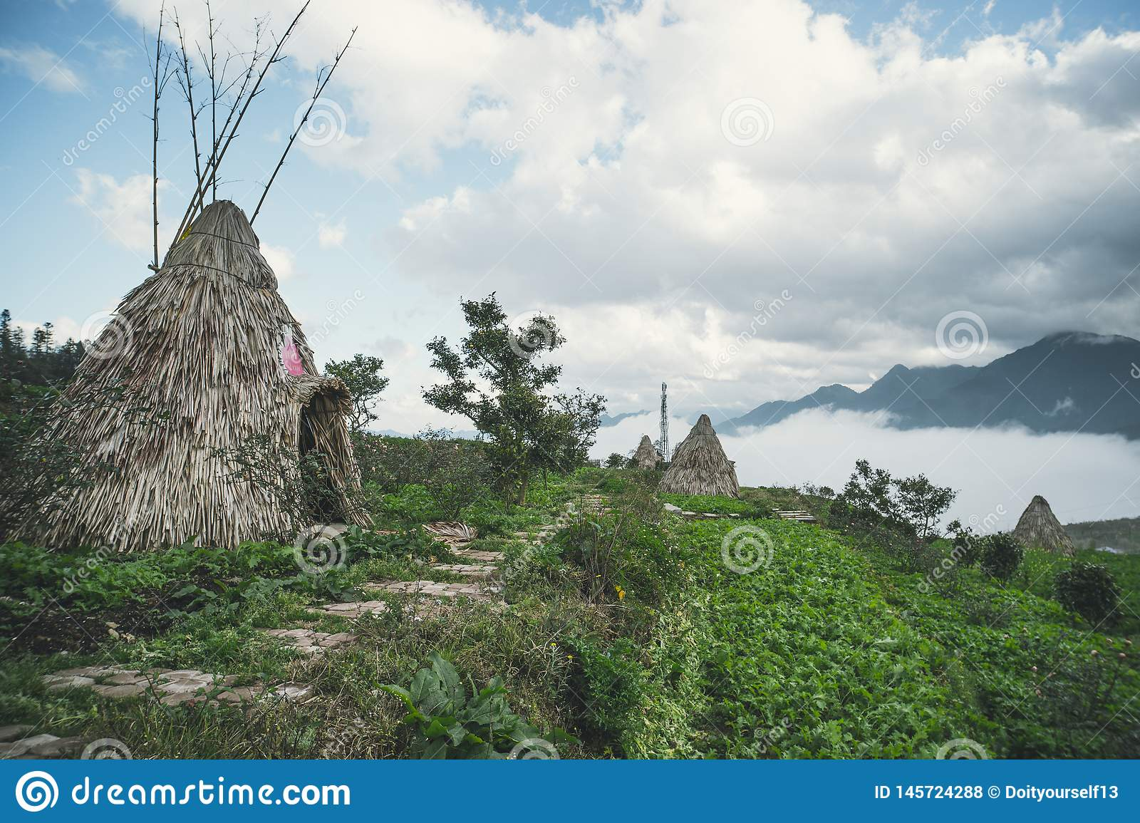Traditional home of small peoples of North Vietnam, living in the mountains near the city of Sapa. Historical reconstruction.