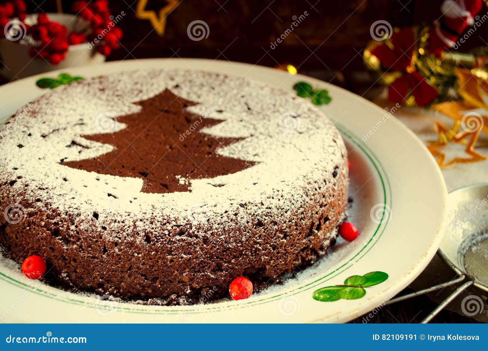 Traditional Homemade Chocolate Christmas Cake Sprinkled With Sugar