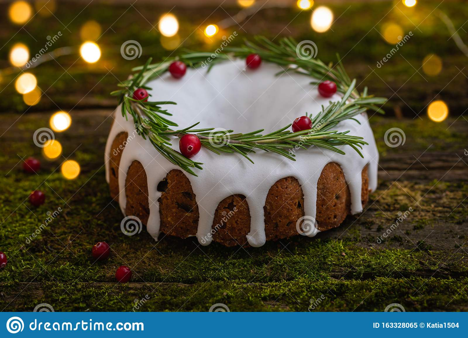 Traditional Homemade Christmas Fruit Cake On The Natural Wooden