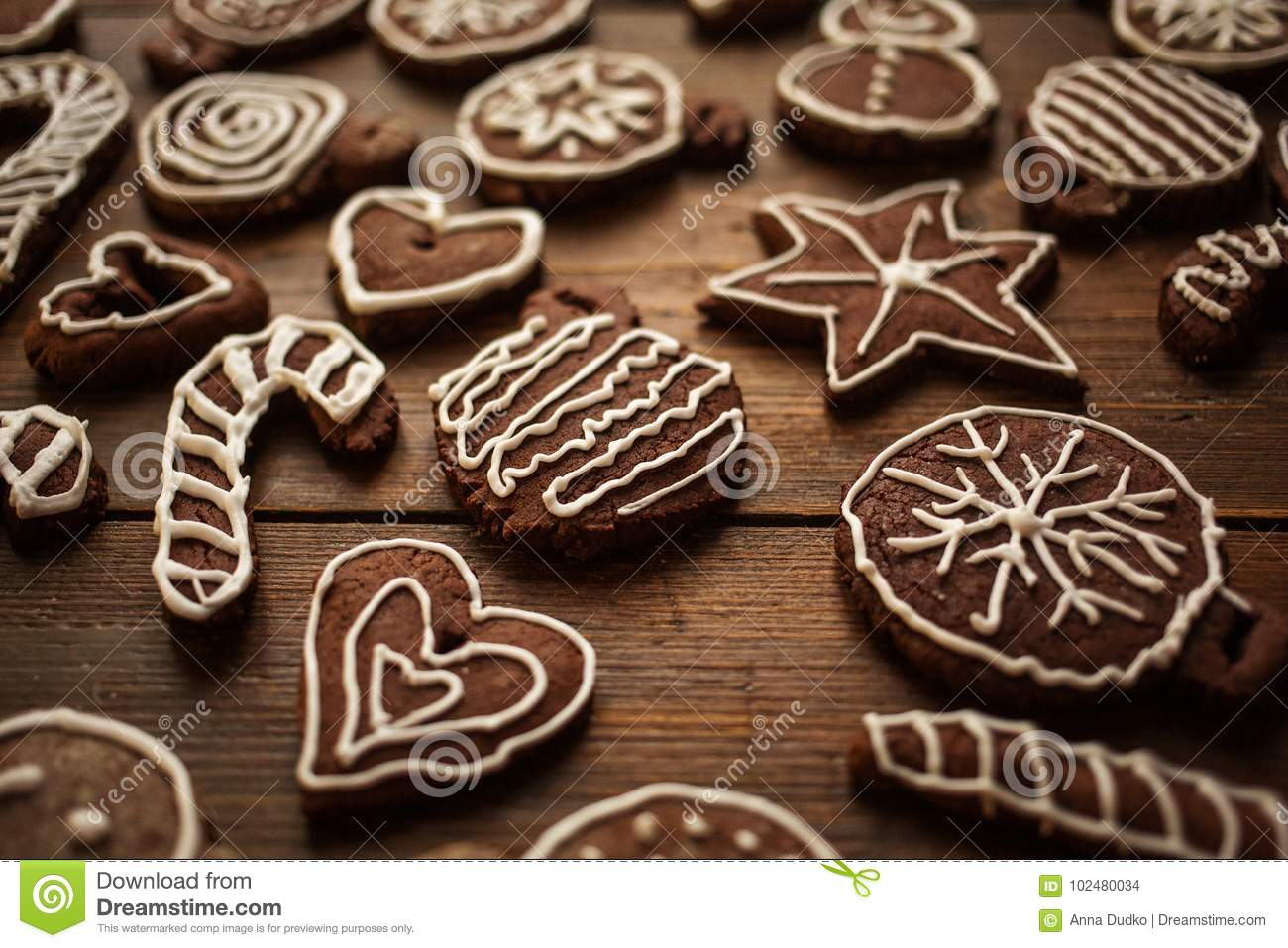 Traditional Homemade Christmas Ginger And Chocolate Cookies Deco ...